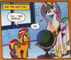 Size: 352x297 | Tagged: safe, idw, princess celestia, sunset shimmer, alicorn, pony, unicorn, spoiler:comic, duo, globe, no
