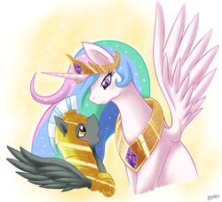 Size: 2152x1964 | Tagged: safe, artist:vavacung, princess celestia, oc, oc:liberty wing, comic:to love god - to love mortal, blushing, female, guardlestia, immortality blues, male, royal guard, shipping, straight, wingboner