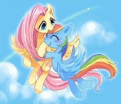 Size: 627x540 | Tagged: dead source, safe, artist:pasikon, fluttershy, rainbow dash, blushing, cloud, cloudy, cute, eyes closed, female, flutterdash, flying, hug, lesbian, open mouth, pixiv, shipping, sky, smiling, spread wings