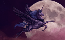 Size: 1267x779 | Tagged: dead source, safe, artist:fjording, princess luna, alicorn, female, flying, hoers, moon, realistic, solo