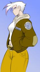 Size: 500x888 | Tagged: safe, artist:0r0ch1, artist:pacce, gilda, human, bellyring, bomber jacket, colored, female, humanized, midriff, piercing, solo