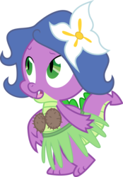 Size: 2254x3233 | Tagged: safe, artist:tourniquetmuffin, spike, the ticket master, clothes, coconut, coconut bikini, crossdressing, flower, flower in hair, grass skirt, hula, simple background, skirt, solo, transparent background, vector, wig