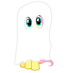 Size: 503x501 | Tagged: safe, fluttershy, ghost, 2spooky, bedsheet ghost, boo, clothes, costume, cute, female, halloween, nightmare fuel, nightmare night, sheet, solo, the ghost of christmas adorableness, the visage of pure horror