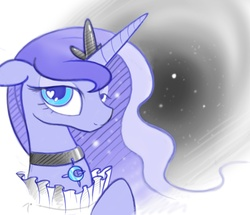 Size: 1822x1567 | Tagged: dead source, safe, artist:b-epon, princess luna, bedroom eyes, collar, colored, fancy, heart, love, mane, moon, necklace, regal, ruff (clothing), ruffled, solo, space