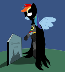 Size: 1280x1422 | Tagged: safe, rainbow dash, pegasus, pony, batman, batmare, bipedal, crossover, dc comics, female, grass, gravestone, implied death, mare, parody, rose, solo