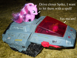 Size: 800x600 | Tagged: safe, artist:eratosofcyrene, spike, twilight sparkle, brushable, drive me closer, g.i. joe, hiss tank, meme, merchandise, tank (vehicle), toy, warhammer (game), warhammer 40k