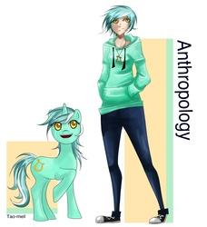 Size: 4368x4780   Tagged: safe, artist:tao-mell, lyra heartstrings, human, pony, unicorn, fanfic:anthropology, absurd resolution, cutie mark, fanfic, fanfic art, female, hooves, horn, human ponidox, humanized, jewelry, mare, open mouth, pendant, raised hoof