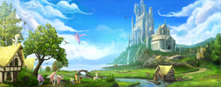 Size: 3724x1482   Tagged: safe, artist:devinian, derpy hooves, doctor whooves, firefly, princess celestia, princess luna, surprise, time turner, alicorn, bird, dog, earth pony, pegasus, pony, unicorn, g1, castle, castle of the royal pony sisters, cottage, detailed, female, filly, foal, g1 to g4, generation leap, history, mare, palace, pink-mane celestia, river, royal guard, scenery, scenery porn, swallow, tree, waterfall, watermill, younger