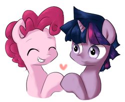 Size: 533x432 | Tagged: safe, artist:chiyoneun, pinkie pie, twilight sparkle, earth pony, pony, unicorn, bubble berry, bubbleshine, dusk shine, eyes closed, gay, heart, male, rule 63, shipping, twinkie, unicorn dusk shine