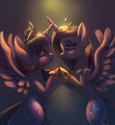 Size: 1020x1108 | Tagged: safe, artist:raikoh, princess cadance, twilight sparkle, alicorn, pony, bipedal, dark, duo, duo female, female, glow, holding hooves, hoof shoes, lesbian, love, mare, now kiss, princess shoes, romantic, shipping, sisters-in-law, twidance, twilight sparkle (alicorn)