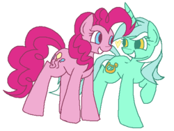 Size: 499x375 | Tagged: artist:rareponypairings, earth pony, eye contact, female, heart, lesbian, looking at each other, lyra heartstrings, lyrapie, no catchlights, pinkie pie, pony, safe, shipping, simple background, unicorn, white background
