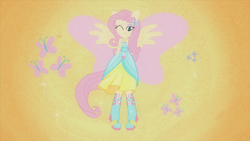 Size: 1920x1080 | Tagged: safe, screencap, fluttershy, butterfly, equestria girls, equestria girls (movie), beautiful, boots, element of kindness, fall formal outfits, female, harmonic transformation, high heel boots, ponied up, ponytail, solo, wings