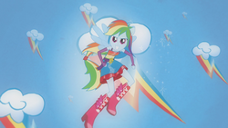Size: 1920x1080 | Tagged: safe, screencap, rainbow dash, equestria girls, equestria girls (movie), boots, element of loyalty, fall formal outfits, female, harmonic transformation, high heel boots, ponied up, ponytail, rainbow, solo, wings