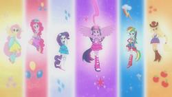 Size: 1920x1080   Tagged: safe, applejack, fluttershy, pinkie pie, rainbow dash, rarity, twilight sparkle, equestria girls, equestria girls (movie), harmonic transformation, mane six, ponied up