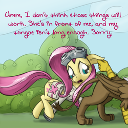 Size: 640x640   Tagged: safe, artist:giantmosquito, fluttershy, gilda, griffon, ask, ask-dr-adorable, comic, dr adorable