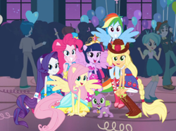 Size: 532x398 | Tagged: safe, screencap, applejack, fluttershy, pinkie pie, rainbow dash, rarity, spike, tennis match, twilight sparkle, equestria girls, equestria girls (movie), background human, balloon, bare shoulders, boots, equestria girls prototype, fall formal, fall formal outfits, hat, high heel boots, mane seven, mane six, ponied up, ponytail, sleeveless, strapless, top hat, wings