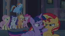 Size: 1920x1080   Tagged: safe, screencap, applejack, fluttershy, pinkie pie, rainbow dash, rarity, sunset shimmer, twilight sparkle, pony, equestria girls, equestria girls (movie), female, mane six, scrunchy face, twilight sparkle (alicorn)