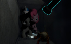 Size: 960x600 | Tagged: safe, artist:pinkie diane roosevelt phd, pinkie pie, shining armor, oc, pegasus, pony, 3d, description is relevant, flashlight (object), gmod, half-life, medkit, sven co-op