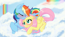 Size: 1600x900 | Tagged: safe, artist:naomiknight17, fluttershy, rainbow dash, blushing, cloud, cloudy, cute, dashabetes, female, flutterdash, lesbian, shipping, shyabetes