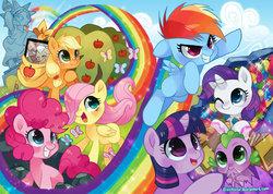 Size: 900x640 | Tagged: dead source, safe, artist:suikuzu, applejack, big macintosh, fluttershy, granny smith, pinkie pie, rainbow dash, rarity, spike, twilight sparkle, dragon, earth pony, pegasus, pony, unicorn, the cutie mark chronicles, action poster, baby, baby spike, cute, female, filly, filly applejack, filly fluttershy, filly pinkie pie, filly rainbow dash, filly rarity, filly twilight sparkle, male, mane seven, mane six, scene interpretation, sonic rainboom, younger