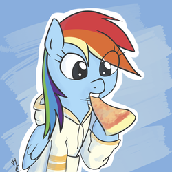 Size: 2400x2400 | Tagged: safe, artist:hardcyder, rainbow dash, pegasus, pony, clothes, eating, eye clipping through hair, food, hoodie, pizza, solo, that pony sure does love pizza