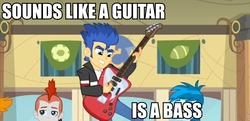 Size: 960x466   Tagged: safe, screencap, crimson napalm, flash sentry, thunderbass, valhallen, equestria girls, equestria girls (movie), background human, bass guitar, guitar, helping twilight win the crown, image macro, musical instrument