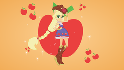 Size: 3840x2160   Tagged: safe, artist:fangz17, applejack, equestria girls, equestria girls (movie), .svg available, fall formal outfits, ponied up, solo, vector, wallpaper