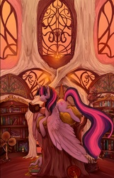 Size: 774x1200 | Tagged: safe, artist:saint-juniper, spike, twilight sparkle, alicorn, bird, dragon, owl, pony, book, bookcase, female, interior, large wings, library, mare, reading, scenery, solo, twilight sparkle (alicorn)
