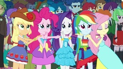 Size: 1280x720 | Tagged: safe, screencap, applejack, blueberry cake, bright idea, captain planet, crimson napalm, curly winds, fluttershy, indigo wreath, microchips, normal norman, pinkie pie, rainbow dash, rarity, sandalwood, scott green, scribble dee, some blue guy, starlight, teddy t. touchdown, thunderbass, valhallen, watermelody, wiz kid, equestria girls, equestria girls (movie), background human, balloon, bare shoulders, boots, bracelet, clothes, fall formal, fall formal outfits, female, hat, high heel boots, humane five, jewelry, male, shoes, sleeveless, sneakers, strapless, top hat