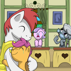 Size: 2048x2048 | Tagged: safe, artist:that1andonly, diamond tiara, scootaloo, silver spoon, oc, crying, father, father and daughter, feels, glasses, good end, hilarious in hindsight, hug, royal guard, scootaloo's parents, scootalove, smiling, tears of joy