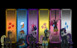 Size: 2560x1600 | Tagged: safe, artist:rockcandy01, applejack, fluttershy, pinkie pie, rainbow dash, rarity, twilight sparkle, earth pony, pegasus, pony, unicorn, applejack's hat, bedroom eyes, bodysuit, bunny ears, catsuit, clothes, cowboy hat, cute, cutie mark, dangerous mission outfit, eyepatch, eyes closed, female, floppy ears, frown, future twilight, goggles, grin, hanging, hat, hoodie, looking at you, mane six, mare, ninja, pinkie spy, raised hoof, sitting, smiling, spy, stetson, torn clothes, upside down, vector, wallpaper, wide eyes