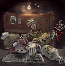 Size: 984x987 | Tagged: safe, artist:agm, oc, oc:volga pony, earth pony, human, pony, couch, glass, guitar, musical instrument, russian, table, vodka