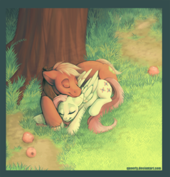 Size: 800x837 | Tagged: safe, artist:queerly, big macintosh, fluttershy, earth pony, pony, apple, cuddling, fluttermac, male, shipping, sleeping, snuggling, stallion, straight, tree