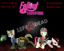 Size: 1600x1280 | Tagged: safe, roseluck, oc, oc only, oc:blackjack, oc:littlepip, oc:murky, cyborg, earth pony, pony, unicorn, fallout equestria, fallout equestria: murky number seven, fallout equestria: project horizons, assault rifle, clothes, fanfic, fanfic art, female, glowing horn, gun, handgun, horn, left 4 dead, levitation, little macintosh, magic, male, mare, marine, optical sight, pipbuck, revolver, rifle, stallion, telekinesis, vault suit, weapon