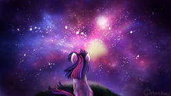 Size: 1920x1080 | Tagged: safe, artist:dream--chan, twilight sparkle, pony, unicorn, behind, female, grass, nebula, scenery, sitting, sky, solo, space, stars, the cosmos