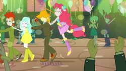 Size: 1920x1080 | Tagged: safe, screencap, crimson napalm, diamond tiara, mystery mint, paisley, pinkie pie, rose heart, scott green, silver spoon, teddy t. touchdown, tennis match, valhallen, equestria girls, equestria girls (movie), background human, balloon, bare shoulders, boots, ear piercing, earring, eyes closed, fall formal, fall formal outfits, hat, high heel boots, jumping, noisemaker, piercing, raised leg, sleeveless, sparkles, strapless, this is our big night, top hat