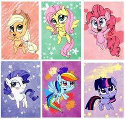 Size: 3150x3000 | Tagged: safe, artist:chibiosakachan, applejack, fluttershy, pinkie pie, rainbow dash, rarity, twilight sparkle, pony, :>, bedroom eyes, bipedal, blushing, cute, flying, heart, looking at you, mane six, open mouth, smiling, smirk, stars