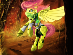 Size: 1600x1200 | Tagged: safe, artist:boomythemc, fluttershy, armor, badass, description at source, description is relevant, everfree forest, flutterbadass, forest fire, short hair, solo