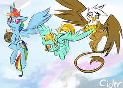 Size: 1400x1000 | Tagged: artist:cider, cider, drink, flying, gilda, griffon, lightning dust, rainbow dash, safe
