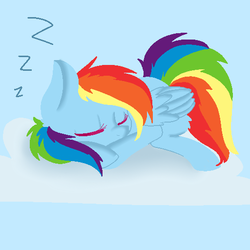 Size: 512x512 | Tagged: safe, artist:chibimlp-lover, rainbow dash, cloud, colored eyelashes, cute, dashabetes, eyes closed, female, leg fluff, on a cloud, prone, sleeping, solo, zzz