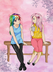 Size: 1296x1756 | Tagged: artist:princessedelamballe, fluttershy, humanized, rainbow dash, safe
