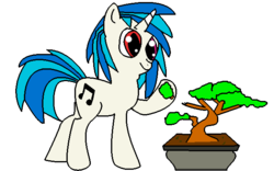 Size: 640x400 | Tagged: artist:youwillneverkno, bonsai, dj pon-3, eating, heterochromia, safe, solo, vinyl scratch