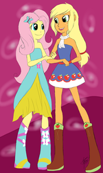 Size: 756x1260 | Tagged: safe, artist:werewolf, applejack, fluttershy, equestria girls, appleshy, bare shoulders, clothes, dress, female, humanized, lesbian, missing accessory, shipping, sleeveless, strapless
