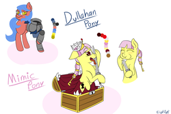 Size: 3000x2000 | Tagged: safe, artist:eightyeight, oc, oc only, dullahan, mimic, mimic pony, monster pony, armor, detachable head, disembodied head, headless, modular, treasure chest