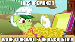Size: 1280x720 | Tagged: bits, british, edit, edited screencap, granny smith, harry enfield, loadsamoney, lyrics, safe, screencap, solo, song reference, text, the super speedy cider squeezy 6000