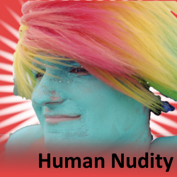 Size: 250x250 | Tagged: bodypaint, cosplay, human, human exhibitionism, human nudity, irl, irl human, photo, photographer needed, rainbow dash, safe, solo, solstice cyclists, source needed, spoilered image joke