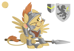 Size: 2800x1936 | Tagged: safe, artist:equestria-prevails, oc, oc only, oc:decima, sphinx, armor, behaving like a dog, cute, one eye closed, paw pads, paws, reference sheet, simple background, solo, spear, sphinx oc, transparent background, underpaw