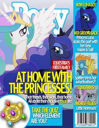 Size: 1700x2200 | Tagged: safe, artist:dutchess6942, diamond tiara, princess celestia, princess luna, silver spoon, spitfire, magazine, magazine cover, parody, people magazine
