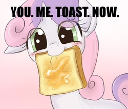 Size: 700x600 | Tagged: safe, artist:yubi, sweetie belle, pony, unicorn, blushing, bread, butter, cute, diasweetes, female, filly, food, looking at you, mouth hold, solo, toast, you. me. x. now.