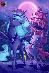 Size: 3382x4961 | Tagged: safe, artist:jowybean, pinkie pie, princess luna, alicorn, earth pony, pony, cake, cutie mark, duo, female, food, happy, hoers, horn, jewelry, looking at each other, moon, night, one eye closed, realistic, regalia, stars, tongue out, wings, wink